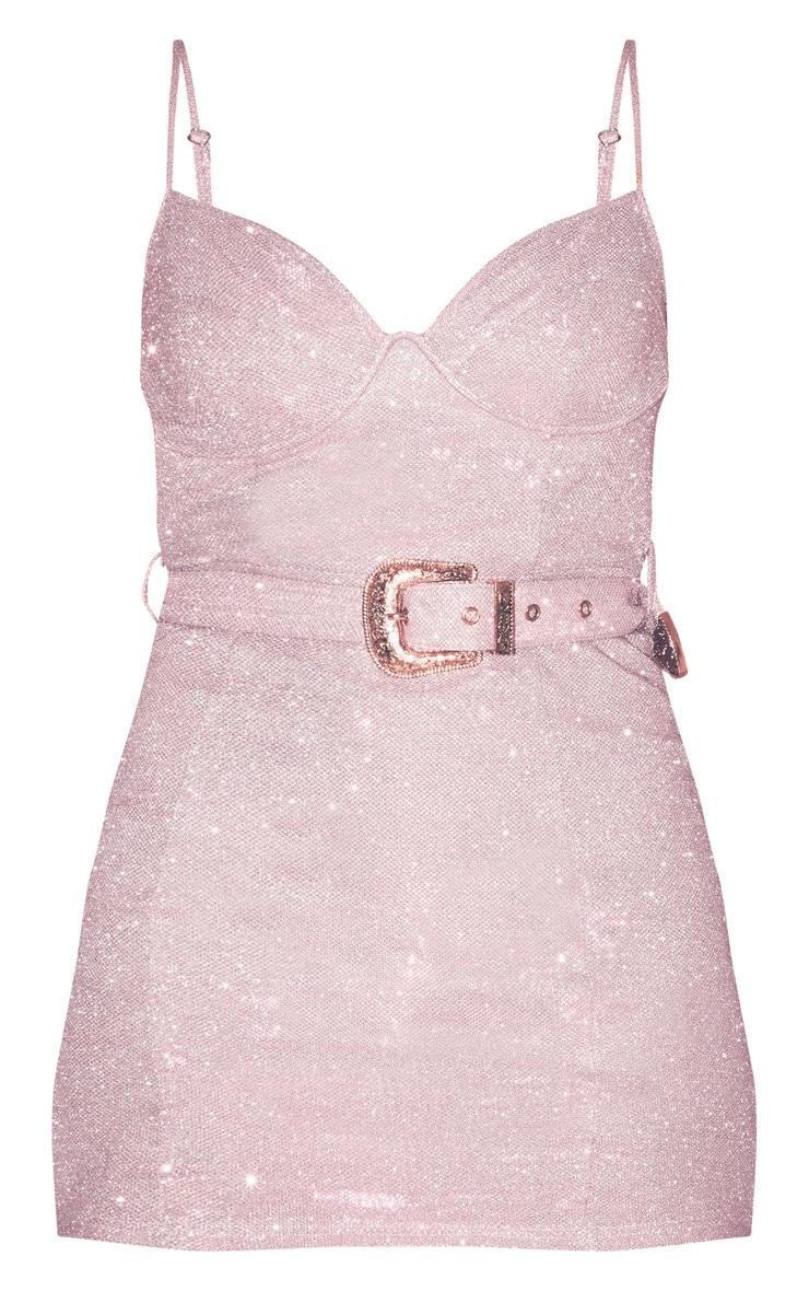 Pink Glitter Strappy Belt Detail Bodycon Dress 3