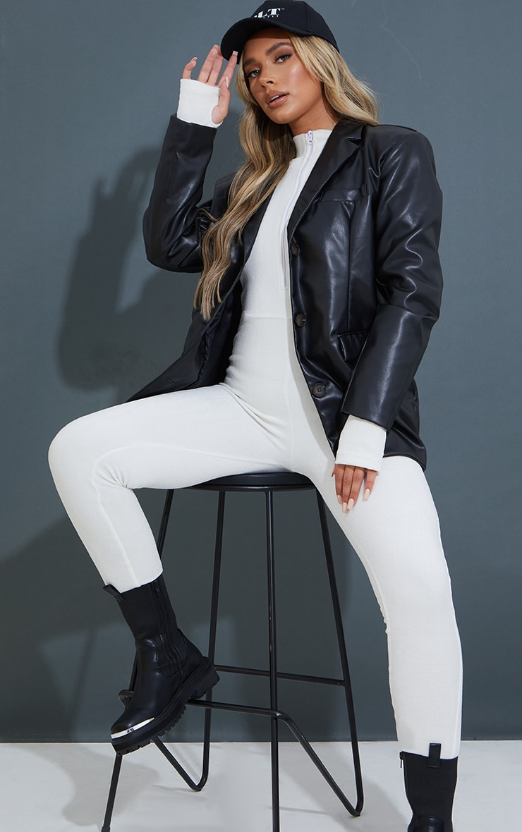 Black Premium Faux Leather Shoulder Padded Grandad Blazer 1