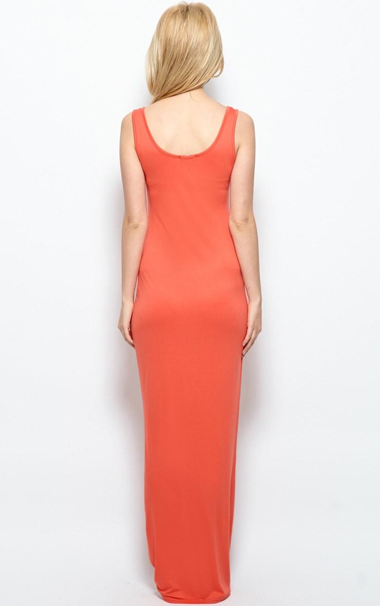 Zoe Orange Jersey Scoop Neck Maxi Dress 2