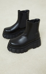 Black PU Large Cleat Extra Chunky Sole Chelsea Boots 3