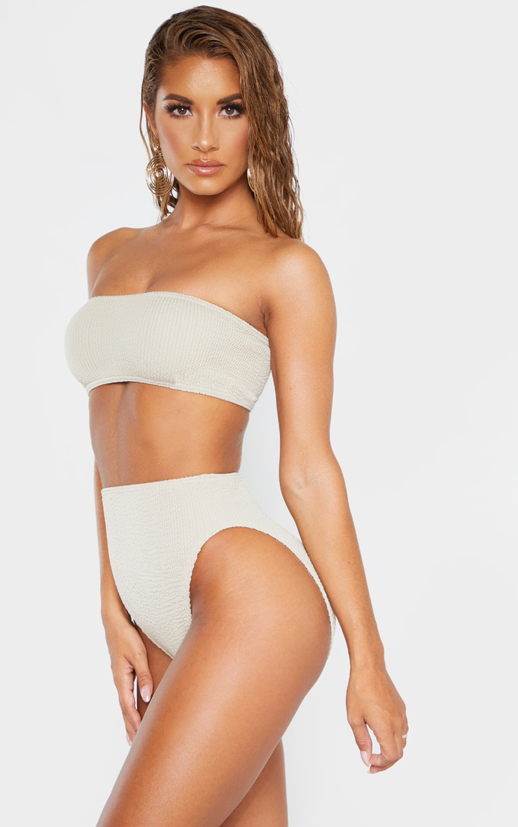 Taupe Crinkle High Waist Bikini Bottom 2