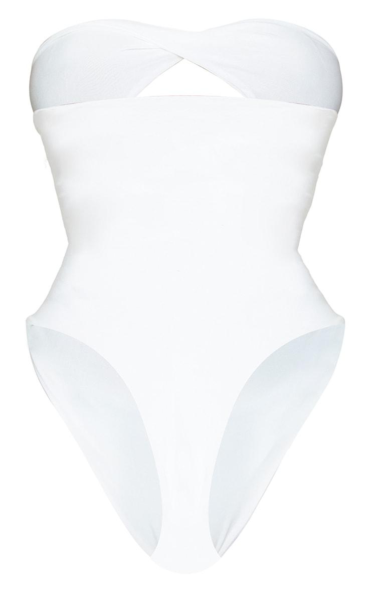 Shape Cream Slinky Lace Up Bandeau Bodysuit 6