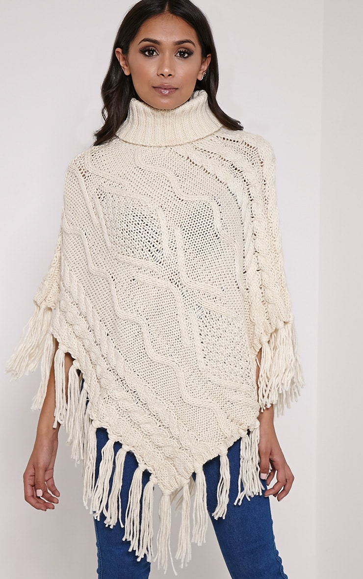 Arianne Cream Chunky Cable Knit Fringed Poncho 1