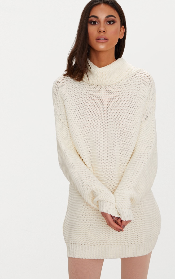 Cream Oversized Roll Neck Jumper 1