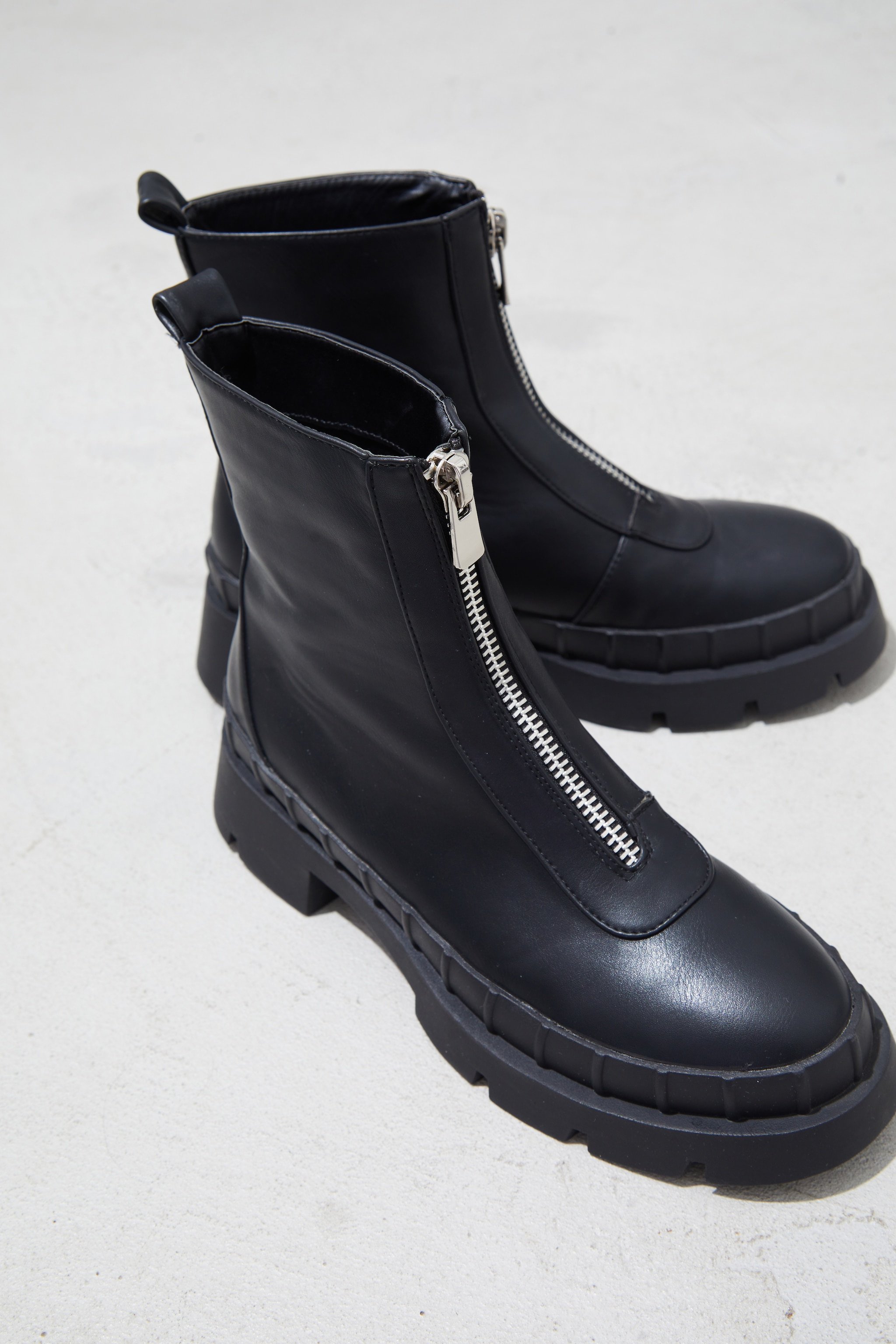 Black Zip Front Ankle Boots 3