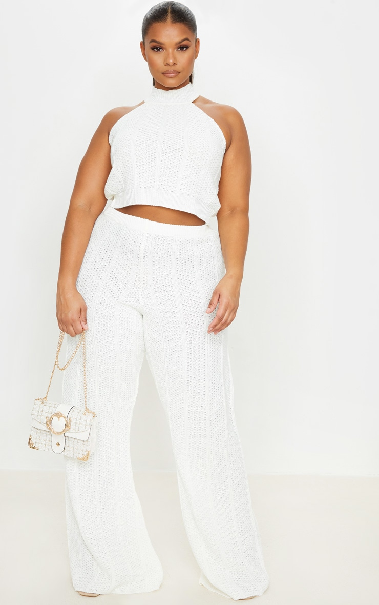 Plus Cream Knit Wide Leg Pants 1