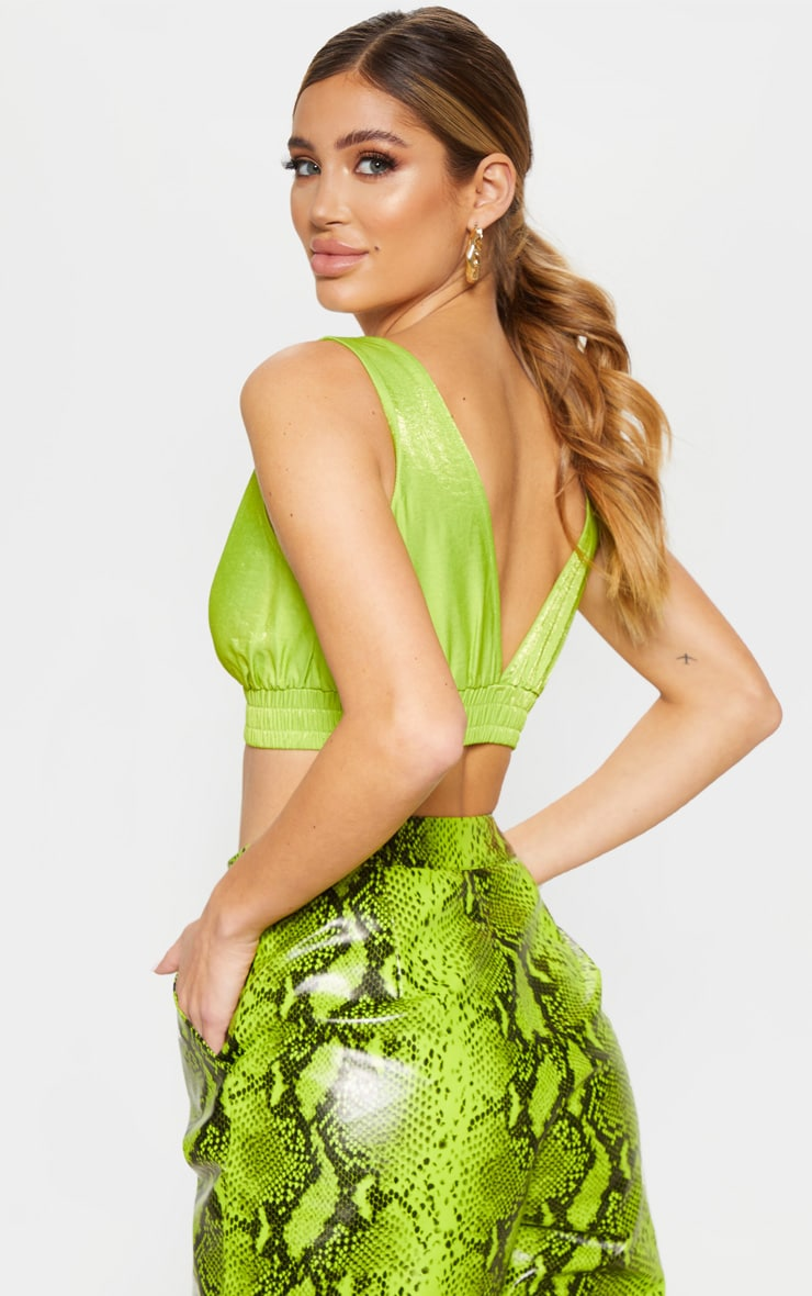 Neon Lime Woven Bralet 2
