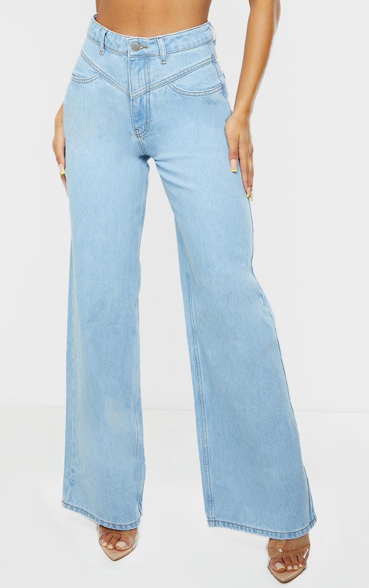 Light Blue Wash Seam Detail Wide Leg Jeans 2