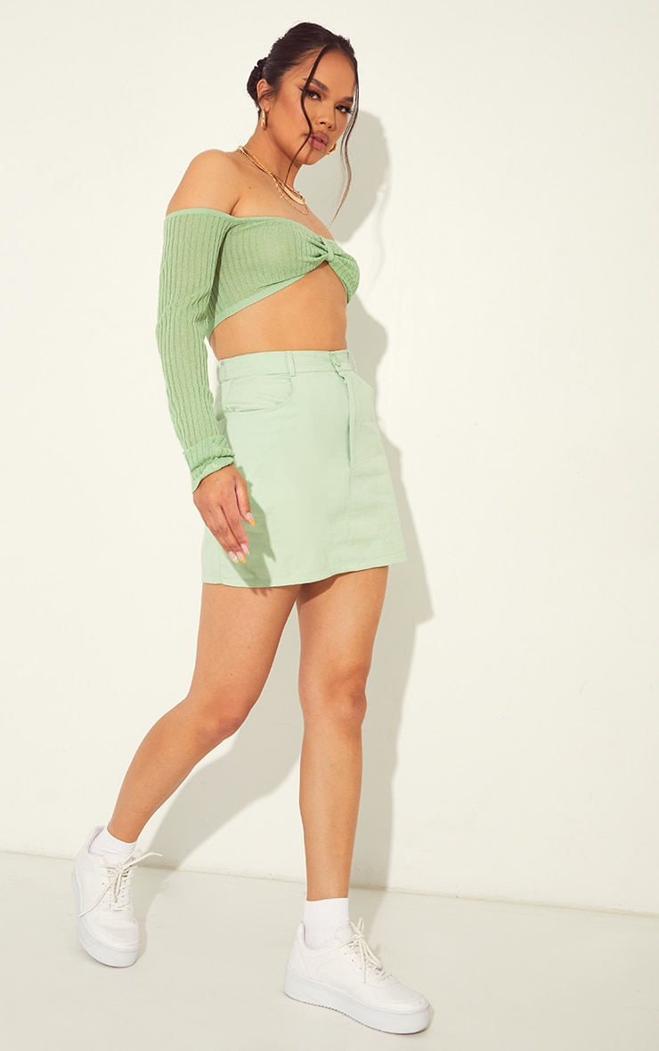 Pale Lime Linen Look Split Hem Mini Skirt 4