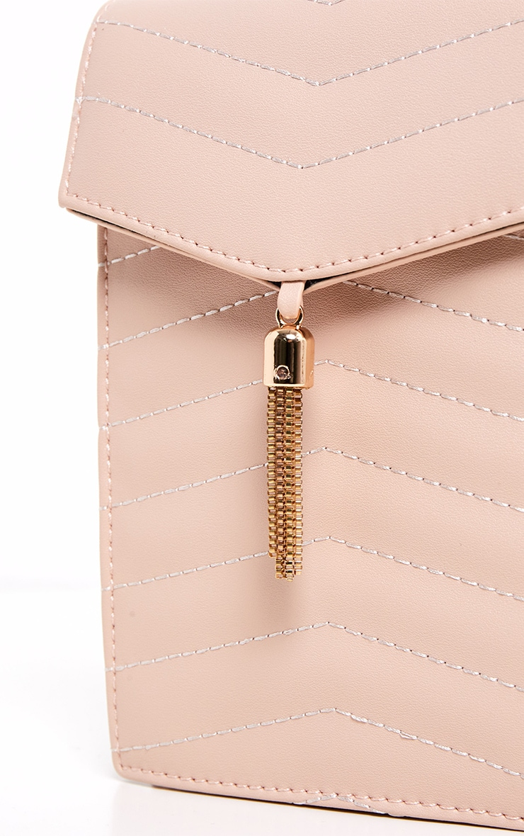 Nude Quilted Flat Pouch Chain Cross Body 4