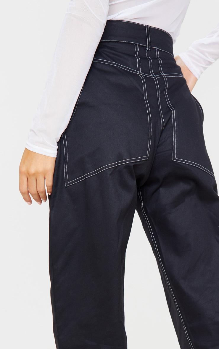 Black Contrast Stitch Cargo Trouser 5