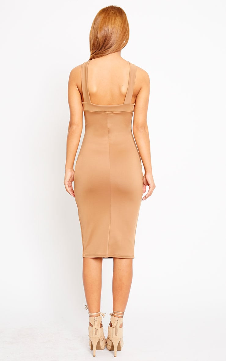 Melanie Camel Cross Front Midi Dress 2
