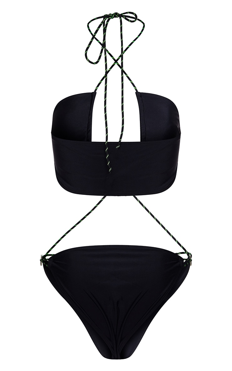 Black Neon Rope Ring Strappy Swimsuit 4