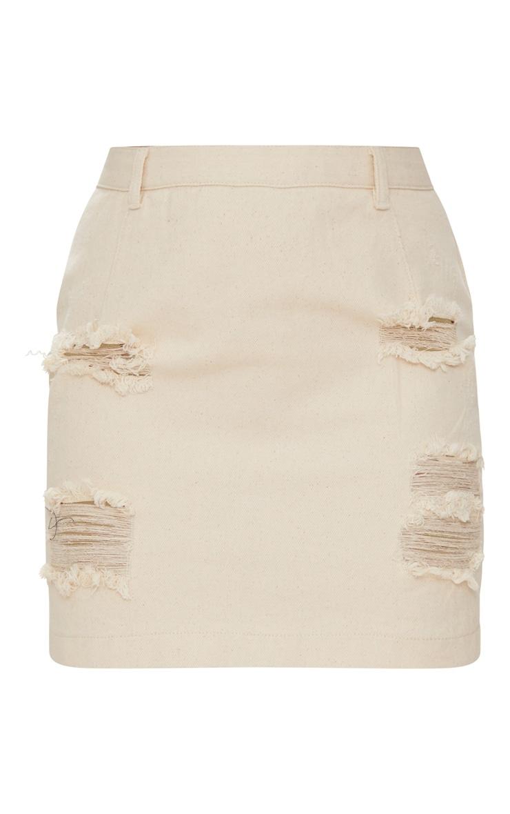 Ecru Roschian Distress Mini Skirt 3