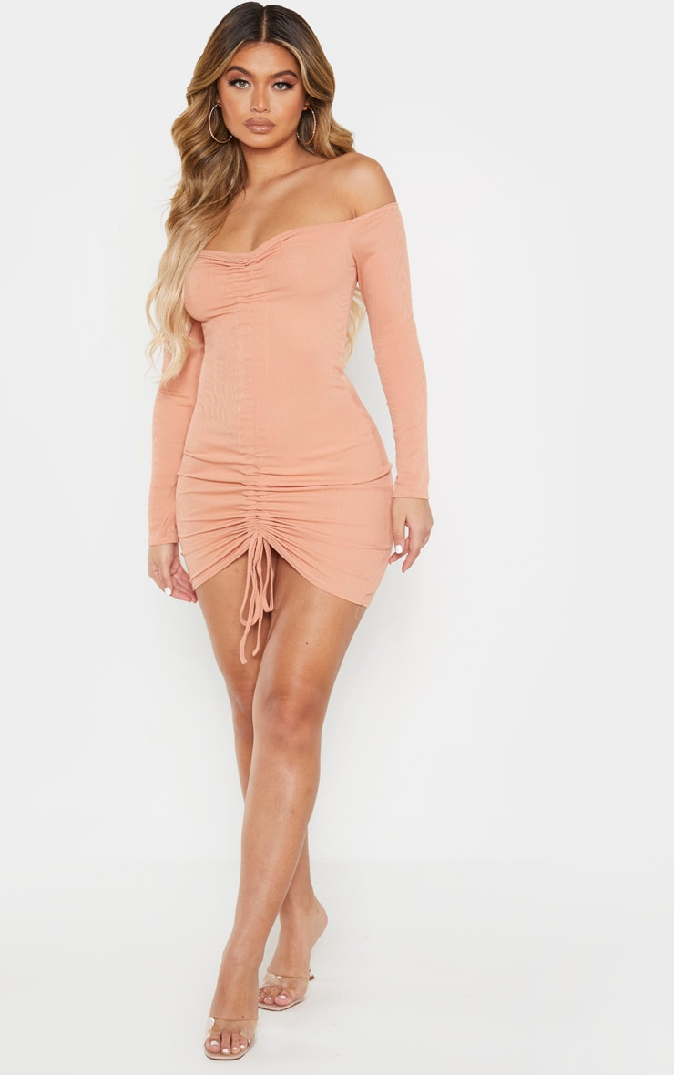 Chestnut Ribbed Long Sleeve Bardot Ruched Bodycon Dress 4