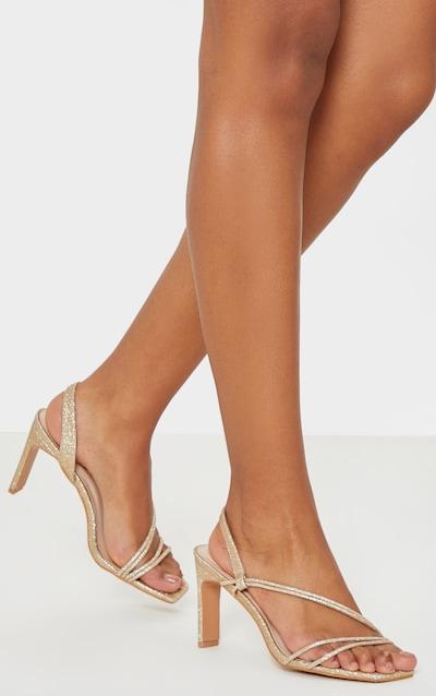 Gold Mid Heel Slingback Asymmetric Strap Sandal