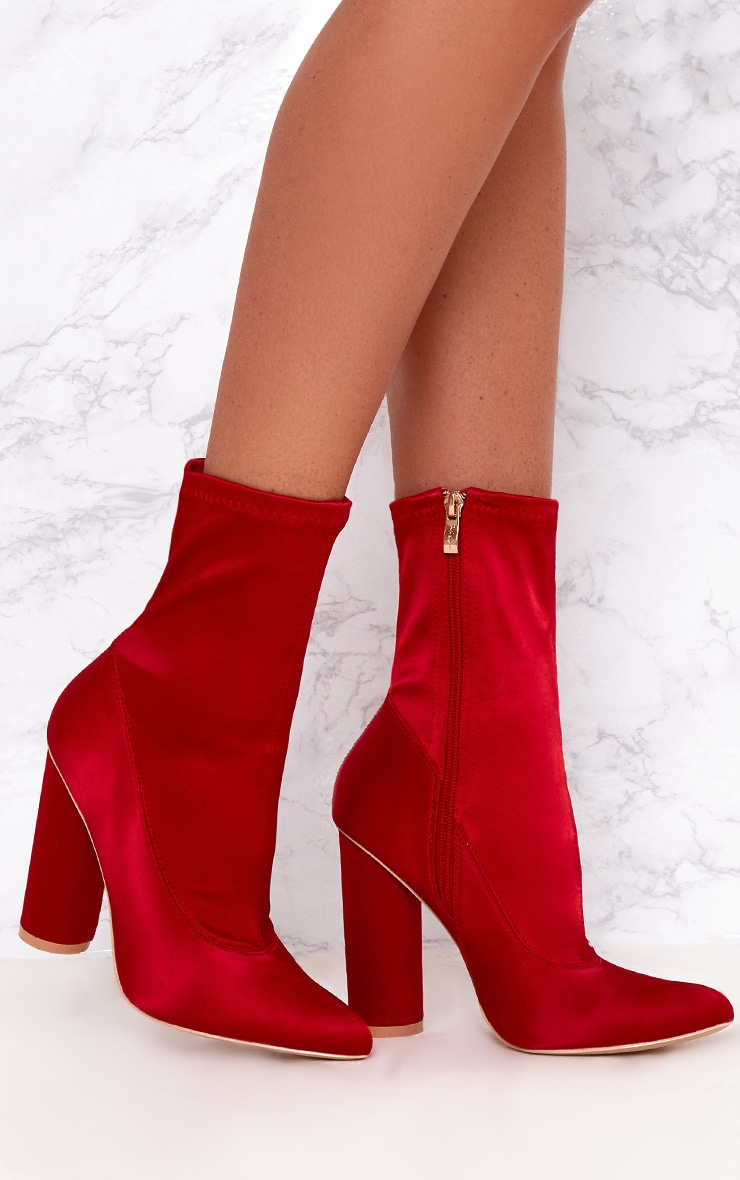 Red Stretch Satin Sock Ankle Boots  1