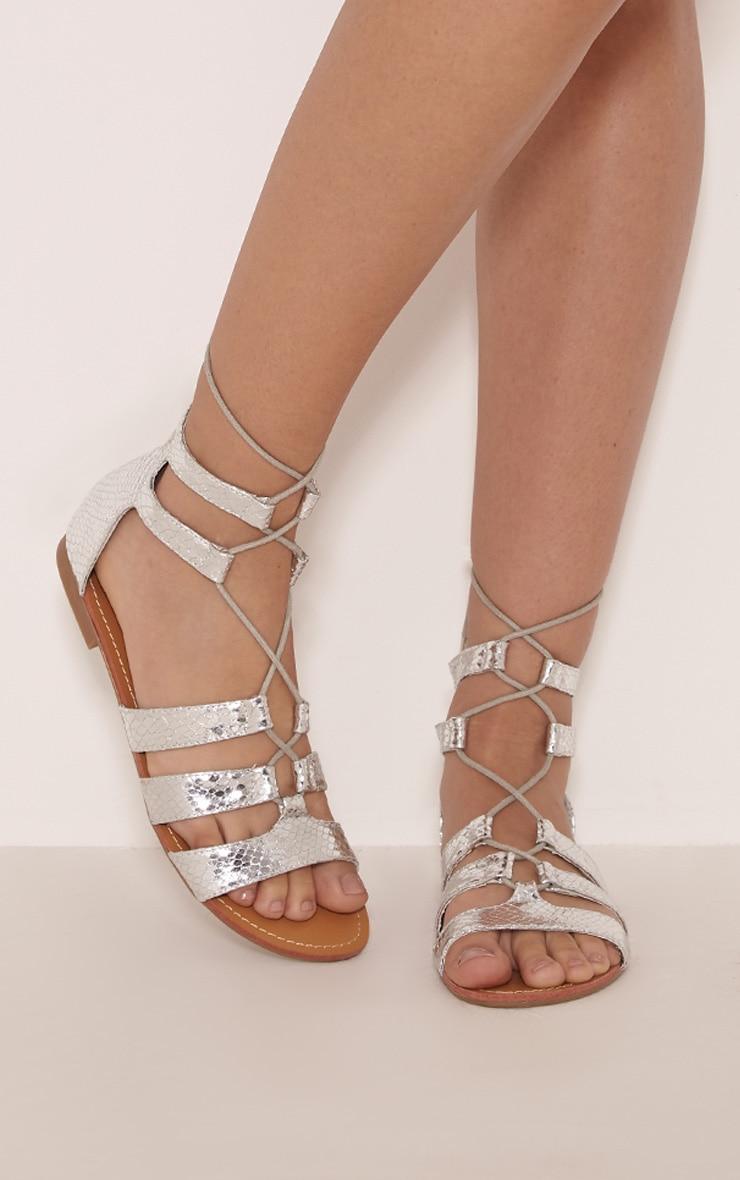 Bethan Silver Metallic PU Snakeprint Gladiator Sandals 4