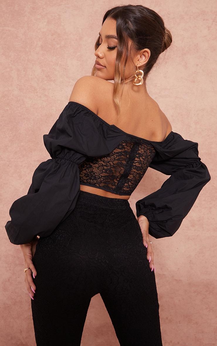 Black Woven Cup Bardot Long Sleeve Lace Corset Top 2