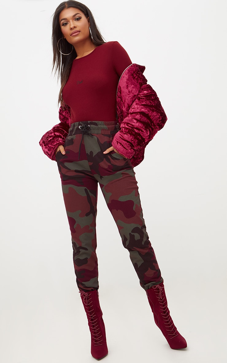 Maroon Doll Slogan Jersey Rib High Rise Thong Bodysuit 5