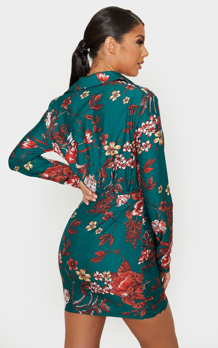Emerald Green Floral Print Button Detail Ruched Drape Shirt Dress 2