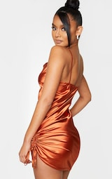 Rust Satin Strappy Cowl Neck Ruched Bodycon Dress 2