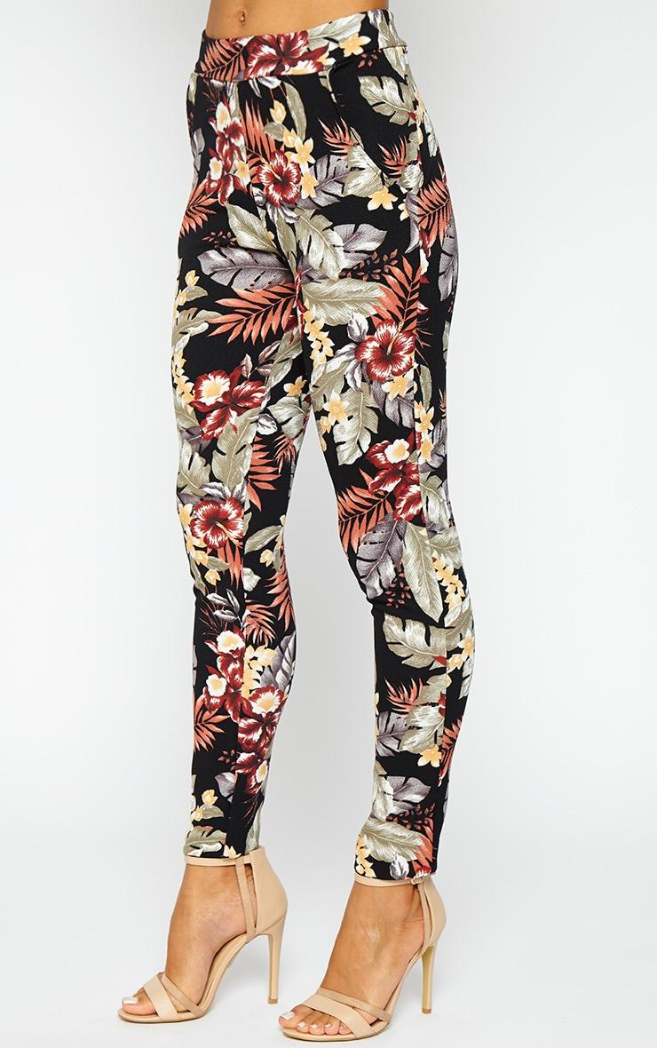 Lyra Black Floral Crepe Trousers 4