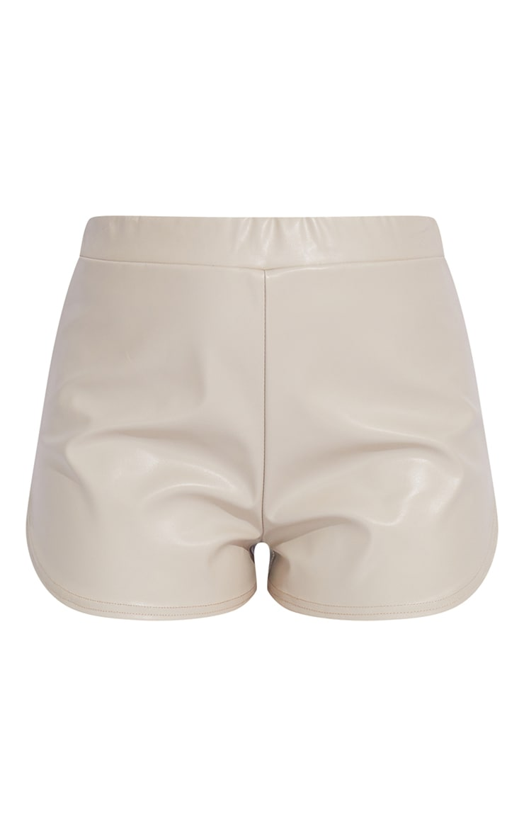 Stone Faux Leather Runner Shorts 6