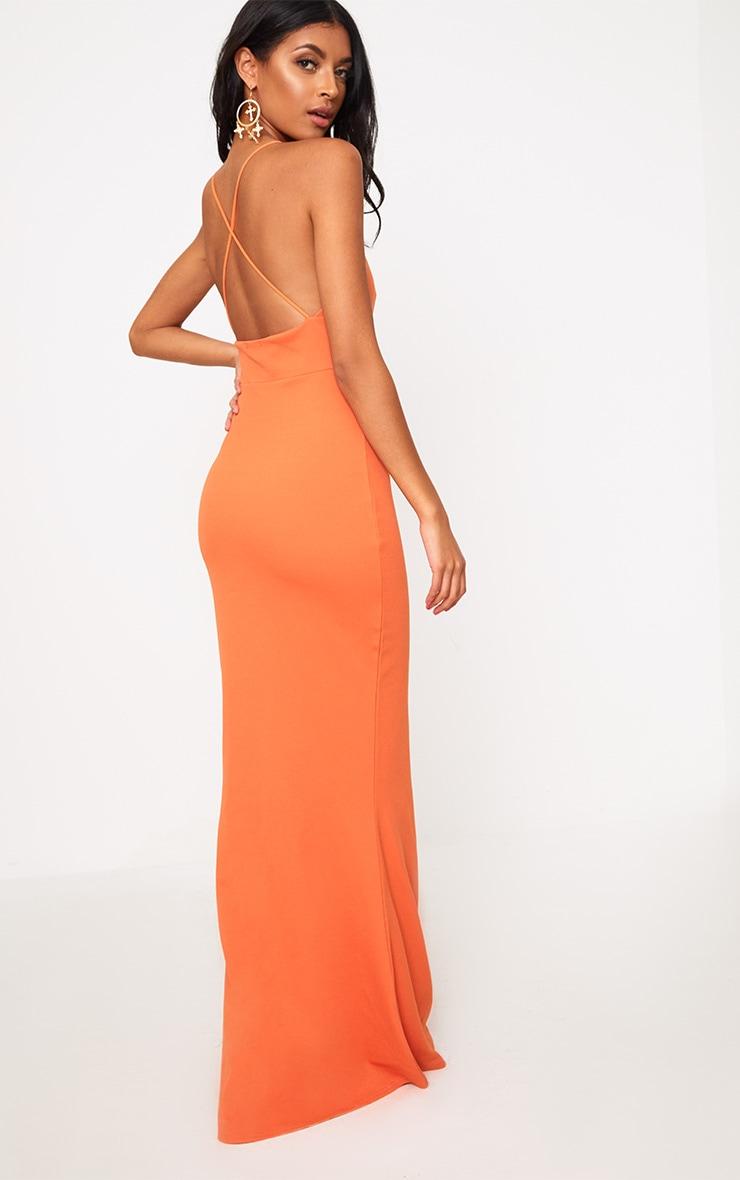 Bright Orange Strap Detail Strappy Maxi Dress 2