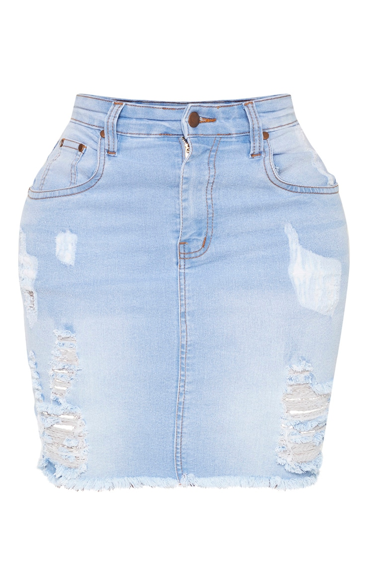 Shape Light Wash High Waist Distressed Denim Skirt 3