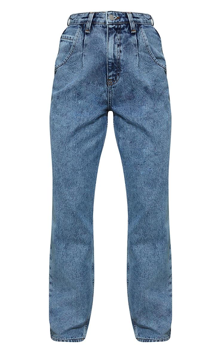 Vintage Wash Seam Detail Wide Leg Jean 5