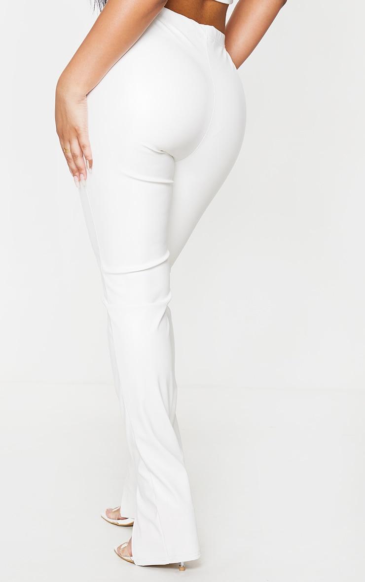 Petite Cream PU Split Front Leggings 3