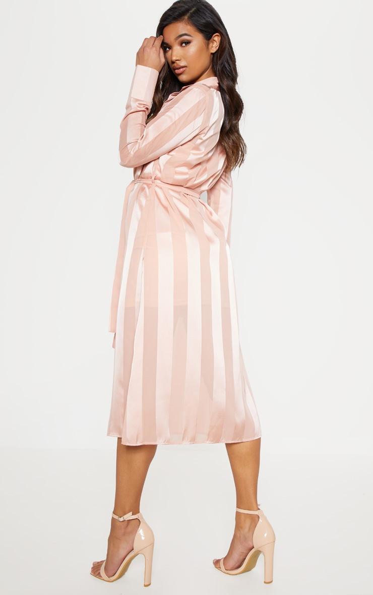 Champagne Satin Stripe Midi Shirt Dress 3