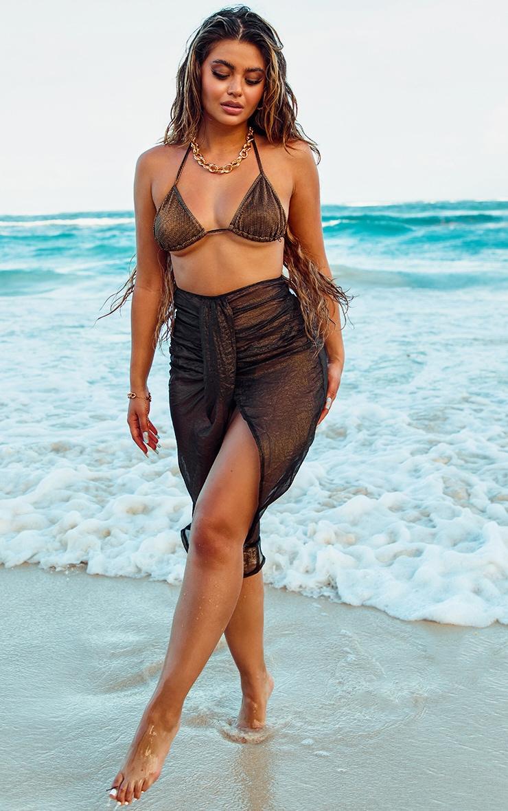 Black Metallic Split Front Beach Skirt 1