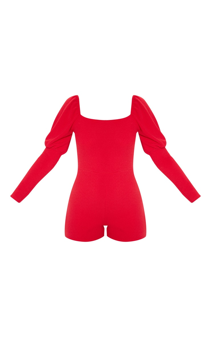 Red Puff Long Sleeve Romper 3