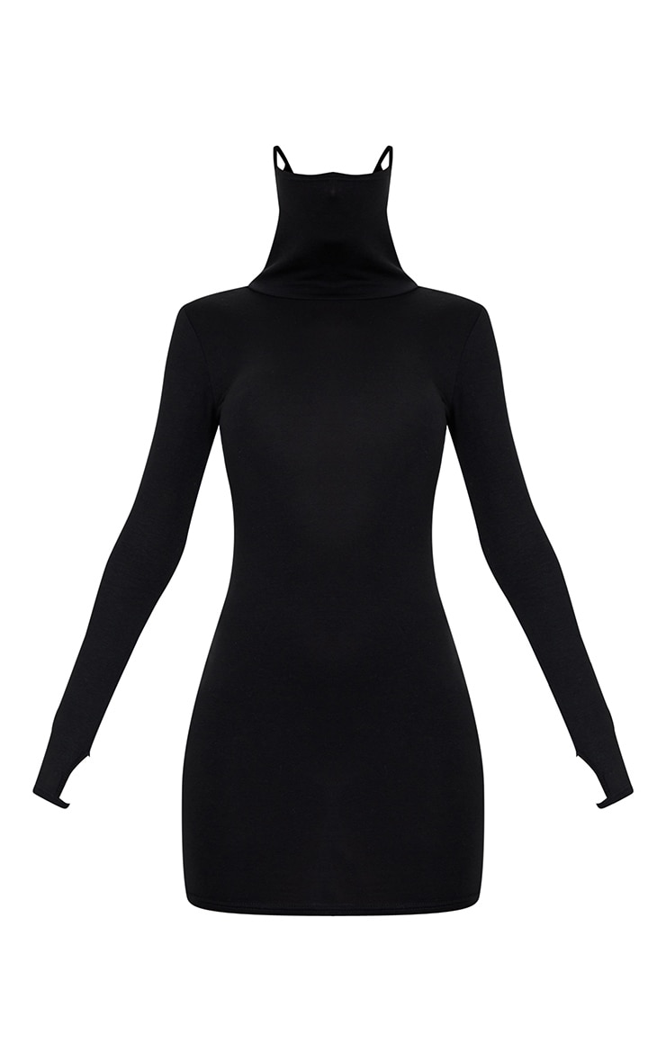 Black Jersey Long Sleeve Mask Bodycon Dress 5