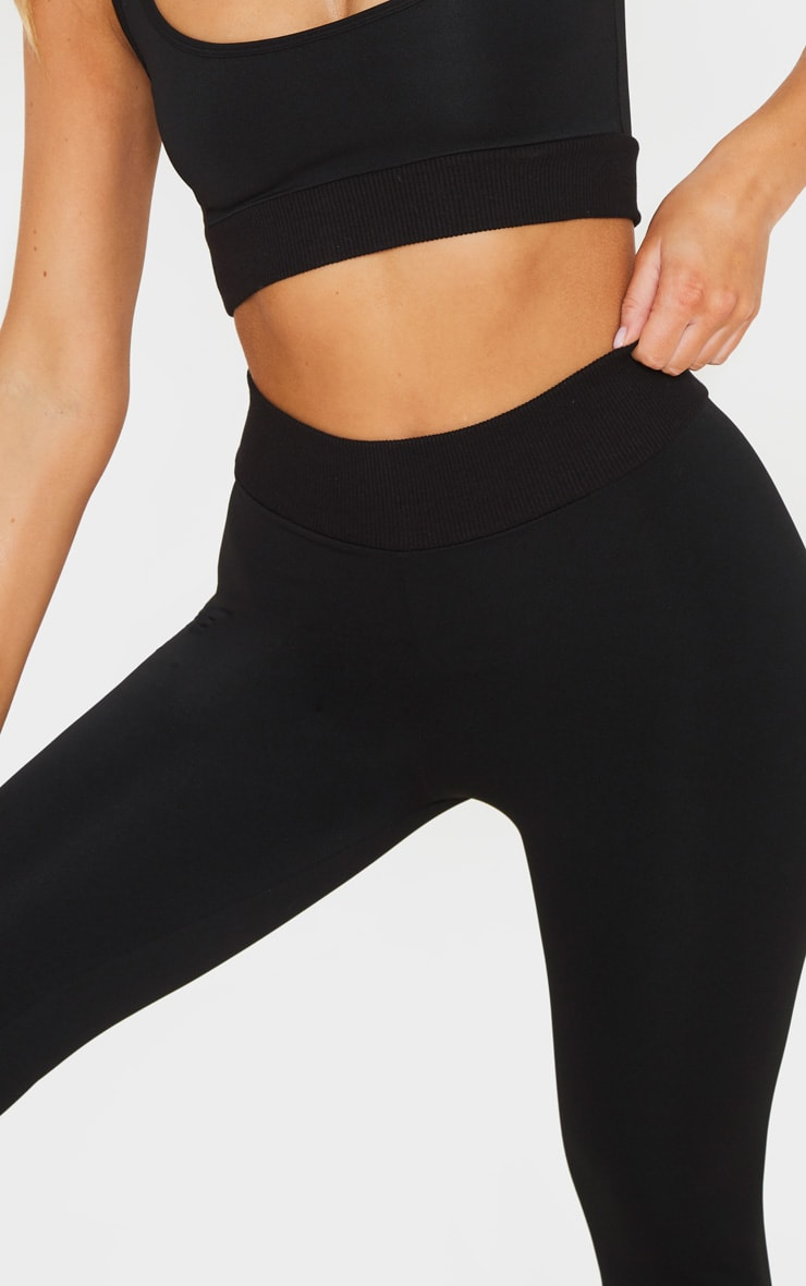 Black Rib Waist Sport High Waist Cropped Legging 4