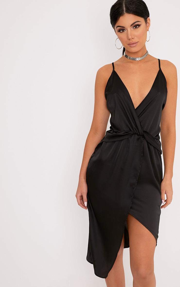 Kala Black Satin Twist Front Midi Dress 1