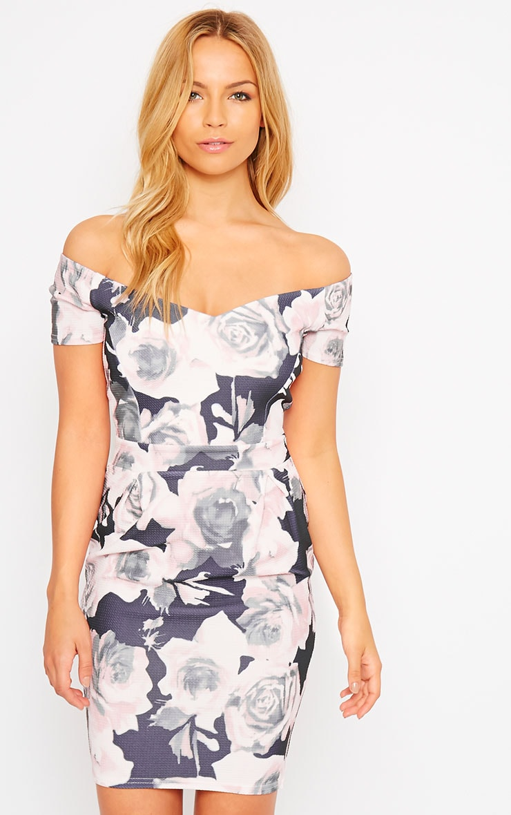 Suni Pink Rose Bardot Midi Dress 1