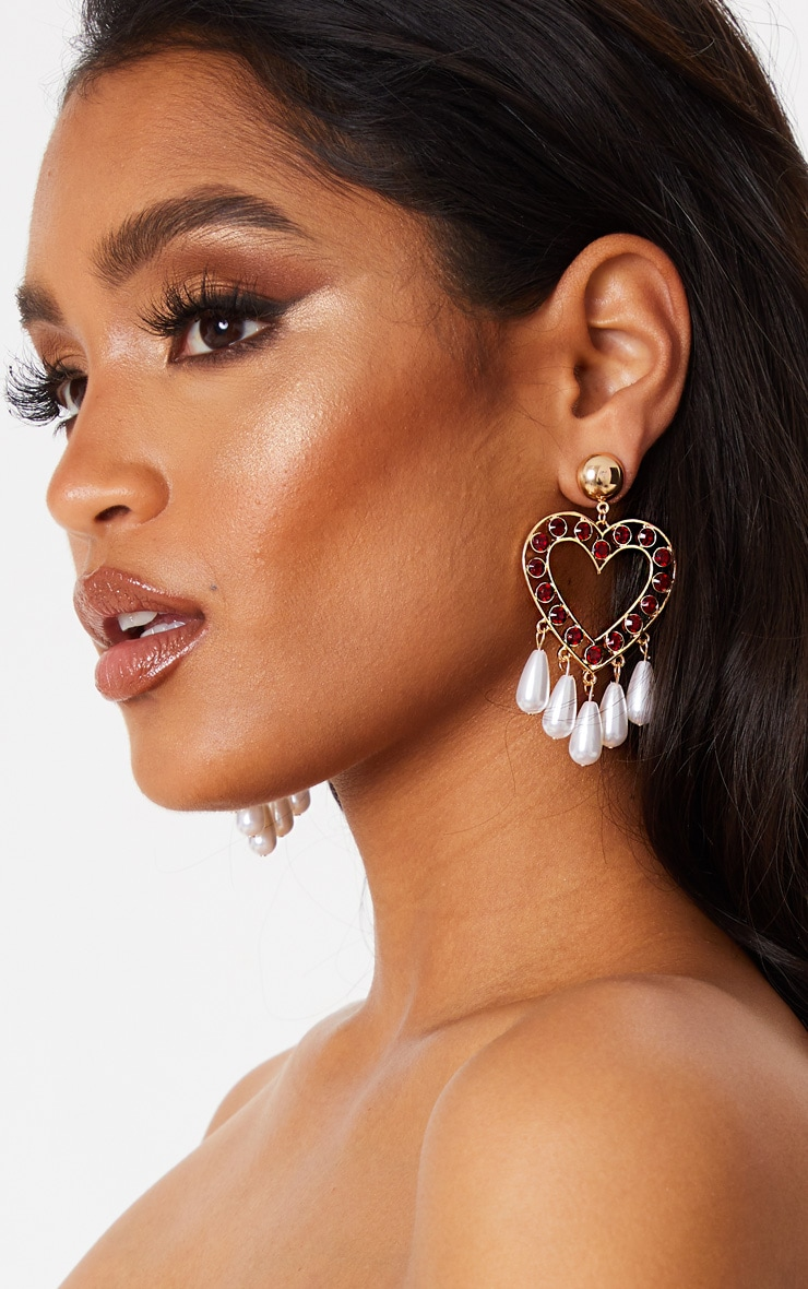Red Crystal Pearl Heart Drop Earrings 1