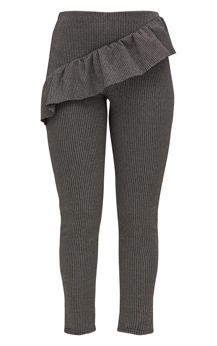 Black Metallic Tweed Frill Detail Skinny Trousers 3