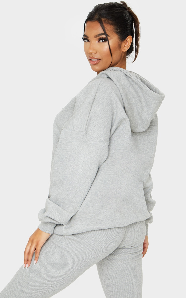 Grey Oversized Pocket Front Drawstring Hoodie 2
