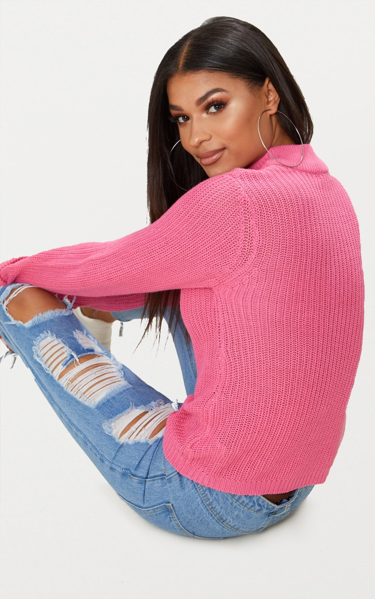 Pink Fisherman Rib Turnback Jumper 2