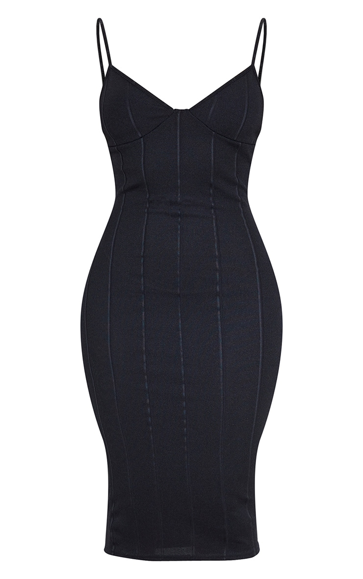 Black Bandage Strappy Cup Detail Midi Dress 3