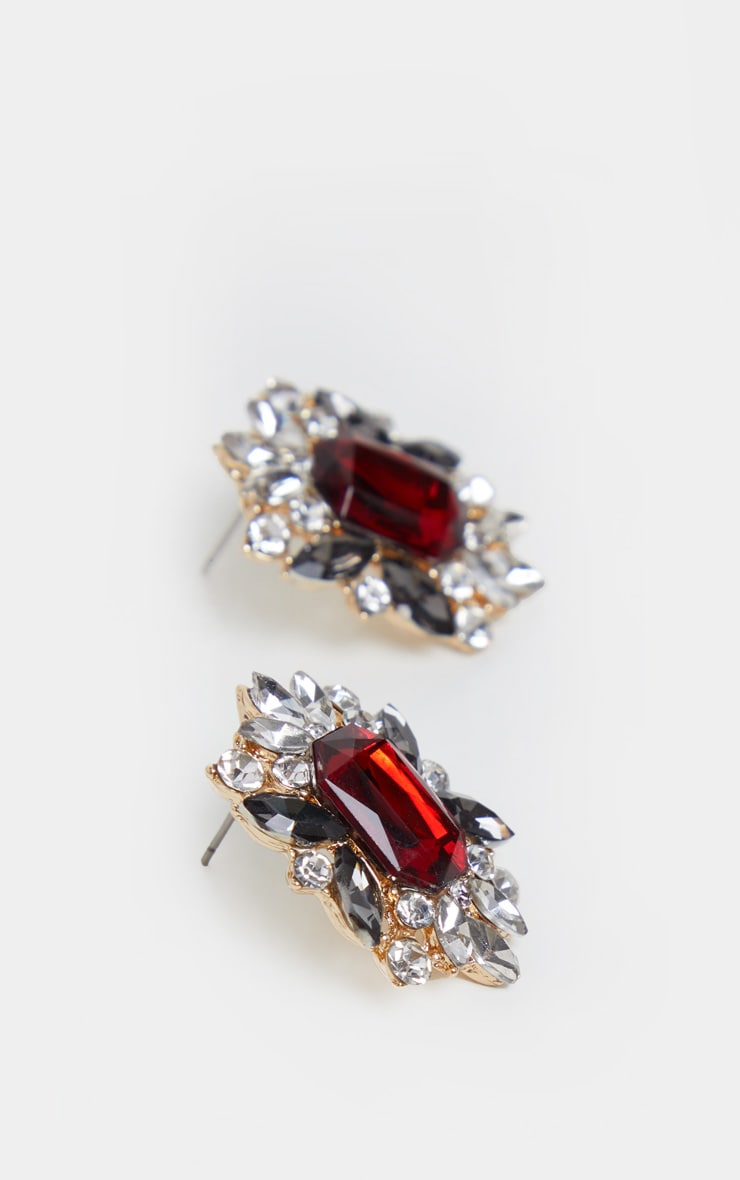 Red Diamante Crystal Border Stud Earrings 3