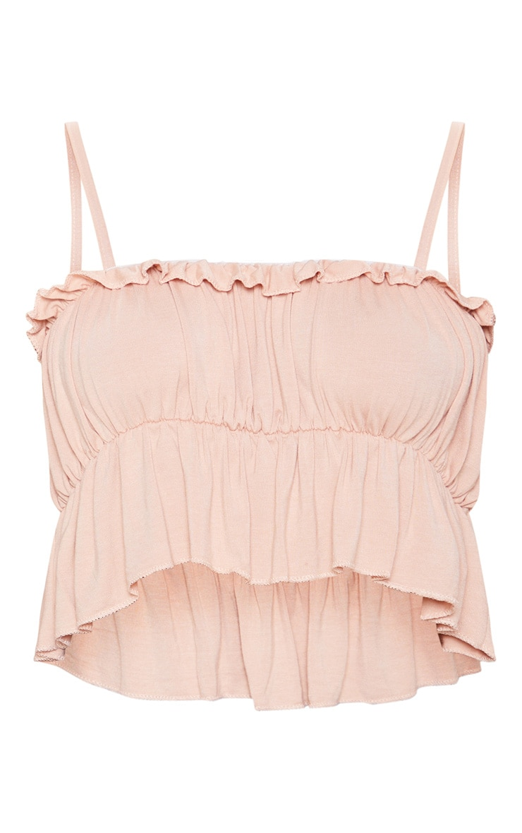 Nude Jersey Ruched Strappy Crop Top 3