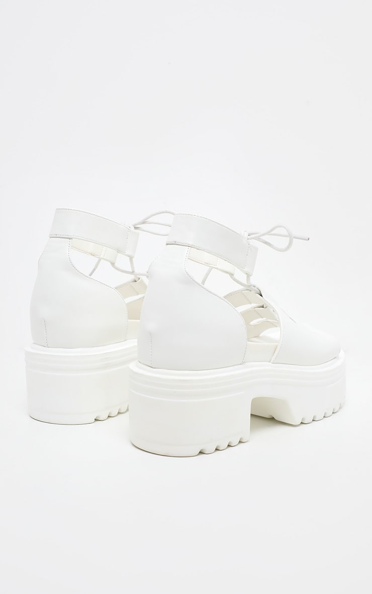 White Chunky Ghillie Lace Up Sandal 3