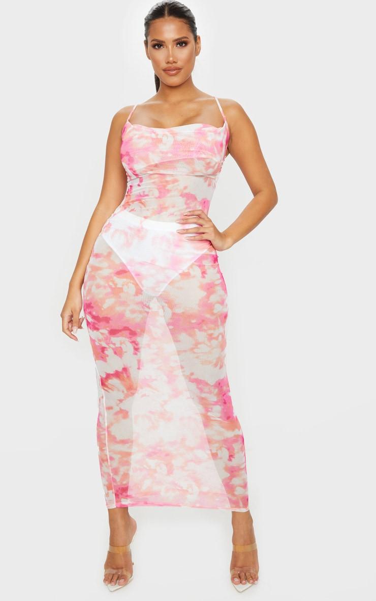 Shape Pink Tie Dye Mesh Cowl Neck Maxi Dress 1