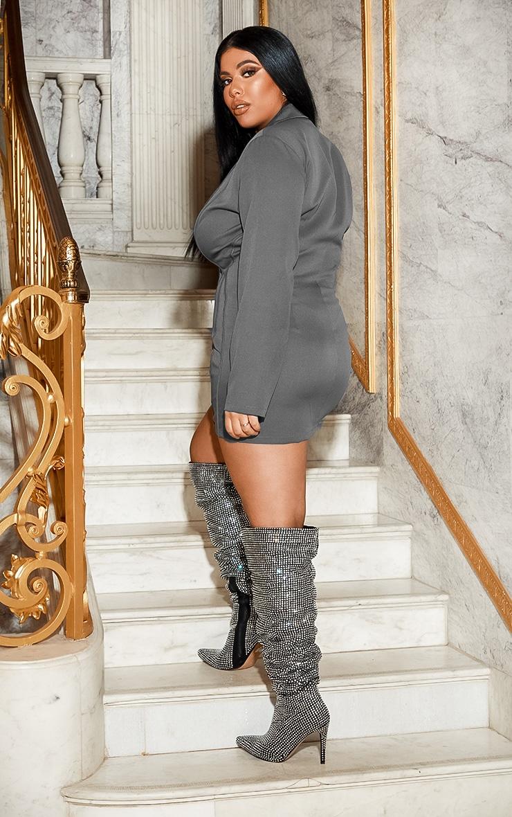 Plus Grey Fitted Seam Blazer Dress 3