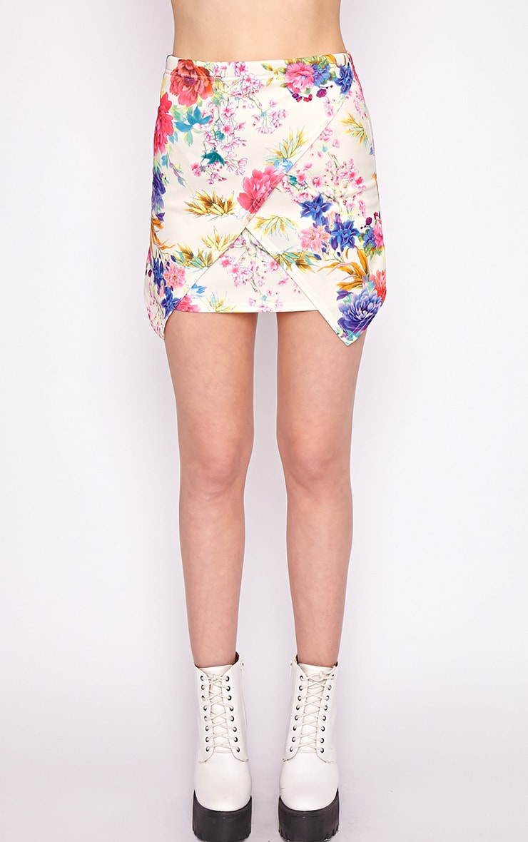 Effie Pink Floral Asymmetric Skirt 4